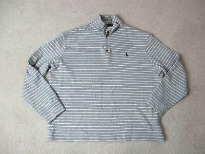 Ralph Lauren Polo Sweater Adult Extra Large Gray White Striped Pony Quarter Zip