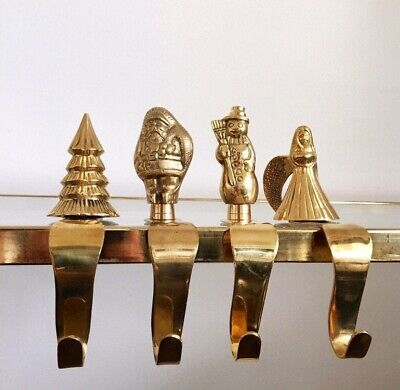 4 Vintage Solid Brass Christmas Stocking Holder Set Long Arm Heavy Mantel