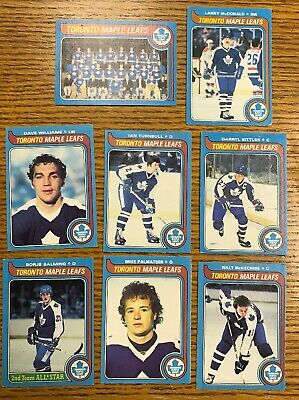 1979-80 O Pee Chee OPC Toronto Maple Leafs Team Set 8 Cards Sittler Salming ++
