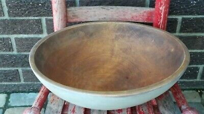 Early  Large Wooden Dough Bowl Oyster Paint  AAFA