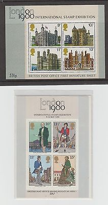 GB 1978-1980 Stamp Sheet - MS1089 - MS1058 1st & 2nd Issue MiniSheets MINT