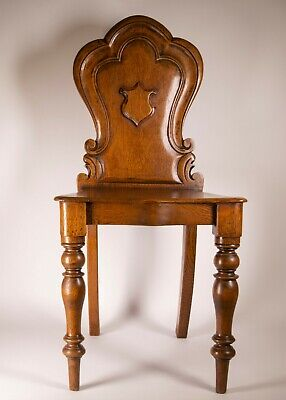 Antique Victorian Miniature Scalloped Back Oak Wood Hall Chair