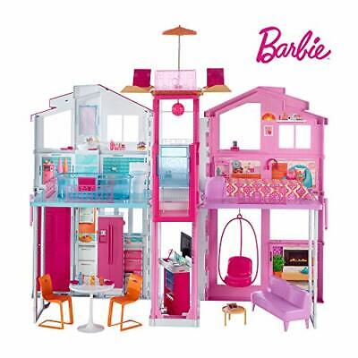 Barbie DLY32 ESTATE Three-Story Town House Colourful and Bright Doll House that