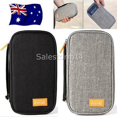 RFID Passport Holder Travel Wallet & Documents Organizer Zipper Case OZ