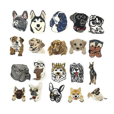 Cartoon Dogs Embroidered Garment Applique Sew Iron on Patches Badges DIY Fabric