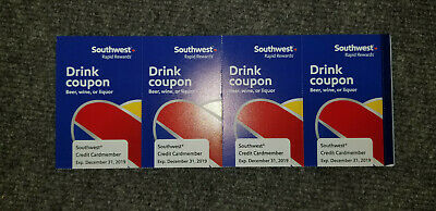 (4) Southwest Airline Drink Coupons Good Thru 12/31/2019