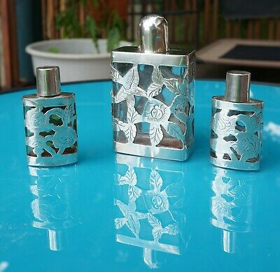 Set of Vintage STERLING SILVER Overlay Glass Perfume Bottle Mexico