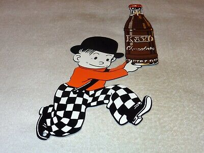 "Vintage Kayo Chocolate Flavored Soda Pop 15"" X 8"" Metal Gasoline & Oil Sign! Nr!"