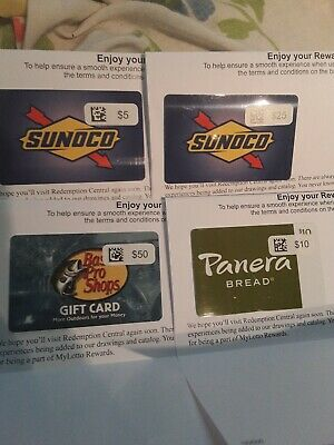 Gift Cards Lot Sunoco Bass Pro Shop And Panera Bread $90 Value total