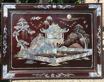 Beautiful Antique Chinese Mother of Pearl Inlay Lacquered Wood Panel Plaque