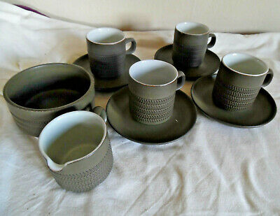 Joblot collection of Denby stoneware Chevron - 4 x cups saucers, 1 jug & 1 bowl