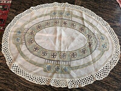 Antique Arts Crafts Mission Stickley Era Lg Oval Table Cover Embroidered Linen