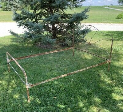 Antique  Victorian Cast Metal Full Bed Frame with Rails