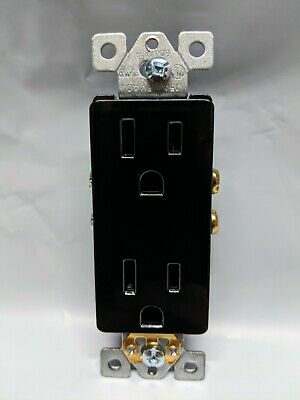 100 pc NEW Decorator Duplex Receptacle BLACK 15A Decora Outlet Self Grounding