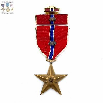 Wwii Us Bronze Star Medal Oak Leaf Cluster Ribbon Bar Lapel Pin Ww2