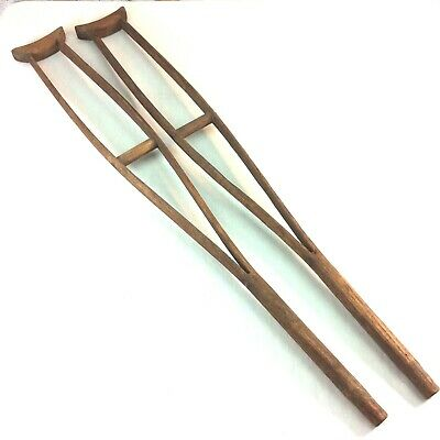 """Antique Childrens Wooden Crutches 32"""" Handmade Early 1900s Medical Instruments"""