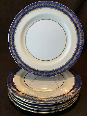 "Aynsley England 1846 Dinner Plates 10 5/8"" Dia Gold Powder Blue Laurels Set of 6"