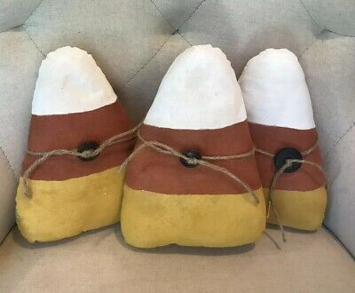 "Primitive Hndmd CANDY CORN Hallowen/Fall/Farm Set of 3 8"" Pnt'd/Tea Stain Decor"