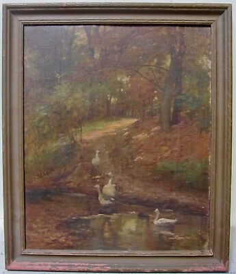 Late 19th Century Signed Oil Painting Swans Geese Birds Landscape Antique Art