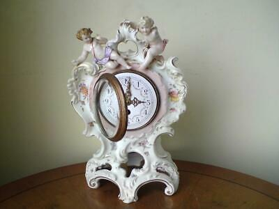 Rare 19th century German mantel clock Porzellanfabrik E & A Müller winged cherub