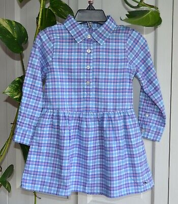 Nwt $69.50 Vineyard Vines Toddlers Flannel Dress Size 2T