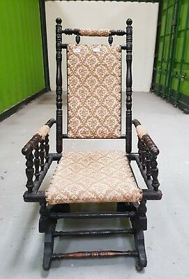 Late Victorian ebonised bobbin turned rocking chair