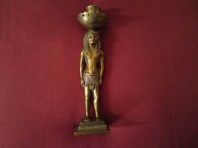 Antique Egyptian Revival Bronze Figure Of Pharaoh Candlestick with Hieroglyphs