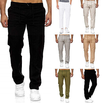 Mens Elasticated Waist Cargo Summer Work Trousers Slim Fit Casual Bottoms Pant