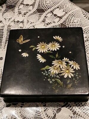 Antique Chinese/Japanese Black Lacquer Papier Mache Box Flowers Hand Painted #3