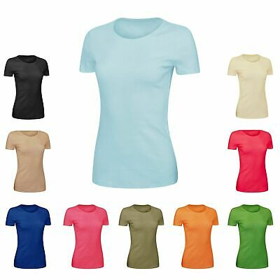 Ladies Pure 100% Cotton Scoop V-Neck Top Short Sleeve T Shirt