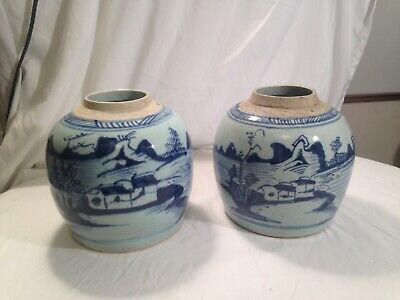 Antique Chinese Blue & White Canton Porcelain Ginger Jars Lot 2