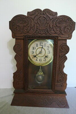 Antique 1880's New Haven Co. Oak Wood Carved Mantle Clock USA w Key Works!