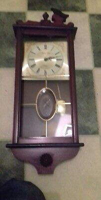 "William Dale Wall Clock Mahogany Case Quartz Battery Movement  27"" VTG Rare"