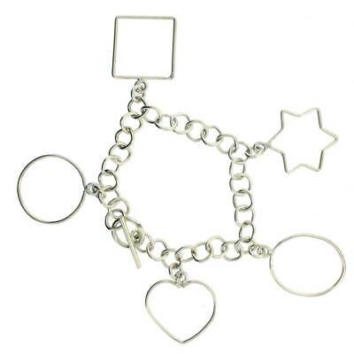 Sterling Silver Charm Bracelet Dangle Chain with Different Shapes Toggle Clasp
