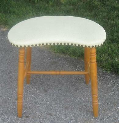 Vintage MCM Vinyl Cream Colored Kidney Shaped Vanity Bench Dressing Table Stool