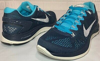 new product dbd0b 3bee1 MENS NIKE LUNARGLIDE +5 Running Shoes Size 11 Athletic BLUE Navy White  Flywire