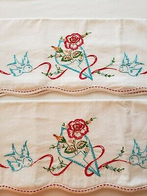 Vintage Pair of Embroidered Pillowcases, Red & Turq. Roses & Birds