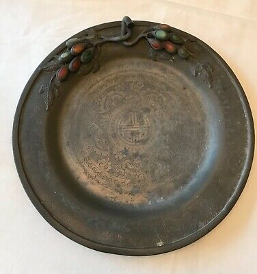 Antique Chinese Pewter Plate, Jade, Carnelian Stones, Bats, flowers, 10 1/2 In.