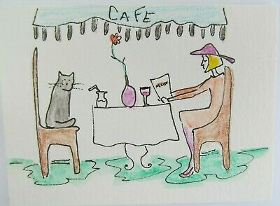 ACEO Original Watercolor Cat Woman Cafe A Little Party Signed by Artist MiloLee
