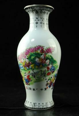 China old porcelain famille rose Playing Baby Paintings vase/qianlong mark 03c01
