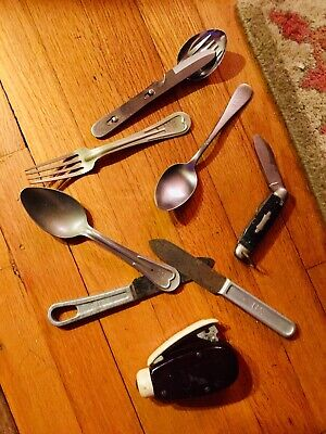 Vintage WWII US Military Army Mess Utensils, Pocket Knife, Spoons & More