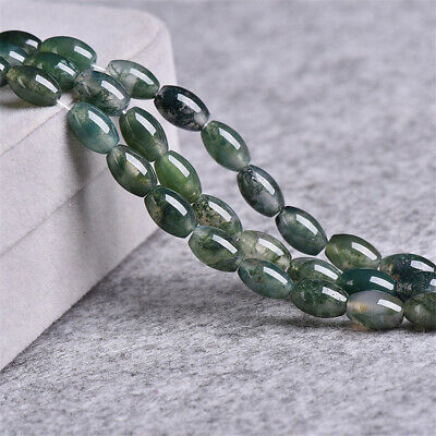 6x9mm Natural Moss Agate Loose Beads Diy Accessories Craft Stone Jewelry Making