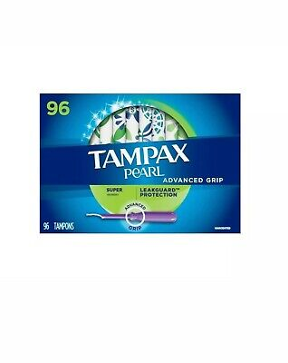 96 Count Tampax Pearl Advanced Grip Super Absorbency Plastic Tampons Unscented