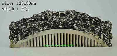 Chinese old copper plating silver Handmade  tree auspicious statue comb old a01