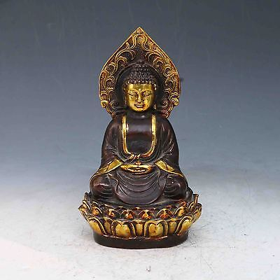 Superb Chinese Old Purple Bronze Gilt Hand Carved Buddha statues RN