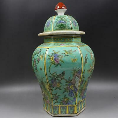 Beautiful Chinese Famille Rose Porcelain Flowers Bird Hat-Covered Jar