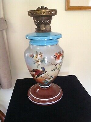 Antique Victorian Hand Painted Glass Kero/Oil Vase Lamp