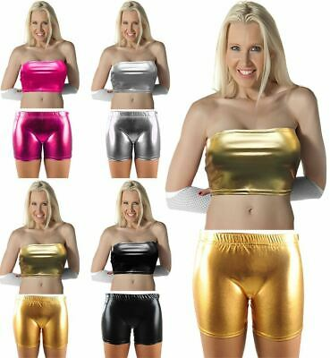 Womens Disco Party Fancy Dress Ladies Shiny Metallic Hot Pants Boob Tube Top