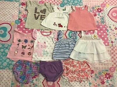 Baby Girls Bundle Clothes - Size 000 Tops Bottoms Summer x 10 items