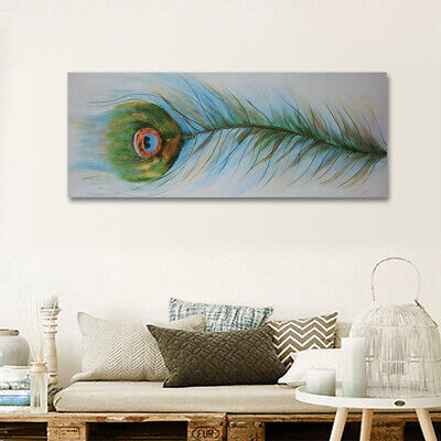 Peacock Feather Abstract Oil Painting On Canvas Wall Art Home Decor With Frame